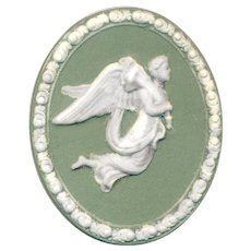 Button---Very Large Marie LaBarre Bennett Jasperware Angel with Cornucopia