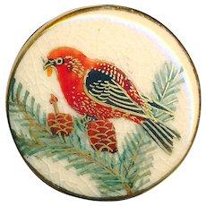Button---Modern Japanese Satsuma Pottery Scarlet Tanager Bird in Pine