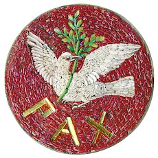 Button--Very Fine Mid-19th C, Micromosaic Dove of Peace in Silver--Medium
