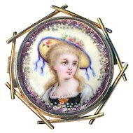 Brooch--Small 19th C. Limoges Enamel Rustic Girl in Bonnet in Gold-plated Brass