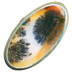 Brooch--Very Large Mid-19th C. Translucent Moss Agate Fans in Silver