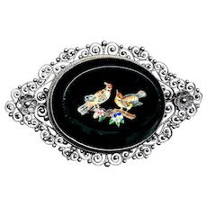 Brooch--Large  19th C. Silver Filigree and Colorful Micromosaic Glass Birds