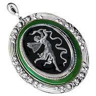 Pendant--Very Large Art Nouveau Engraved Glass Fairy in White Metal