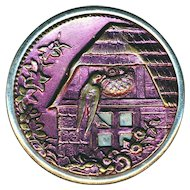 Button--Very Large Late 19th C. Magenta Tinted Brass Barn Swallow and Nestlings