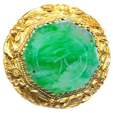 Button--Early 20th C. Gilded Silver and Chinese Streaky Apple Green Jade--Medium