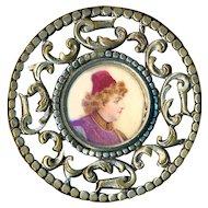 Button--Large Portrait Under Glass of Man in Fez in Open-work Brass