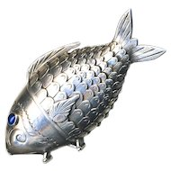 "Georgian Articulated Sterling Silver Fish Clove and Snuff ""Box""--Sapphire Eyes 2 Compartments"
