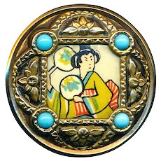 Button--Large Vintage Brass with Glass Jewels and Geisha Litho Under Celluloid