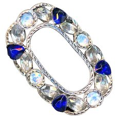 Brooch--18th C. Georgian Crystal, Opalescent, and Sapphire Blue Pastes in Heavy Silver