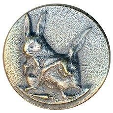 Button--Late 19th C. TW&W Paris Back Flop-eared Bunnies with Carrots--Bird Cage Shank