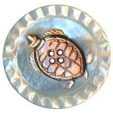 Button--Large Vintage 20th C. Compound Pearl Carved Turtle on White Pearl