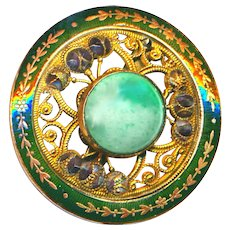 """Button--Large Champleve Enamel and Faux Jadeite Glass Jewel--Open-work """"Cannetille"""" & Cut Steels"""