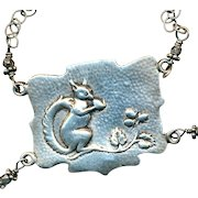 Necklace--Early 20th C. Hand Made Repousee Sterling Silver Squirrel and Nut
