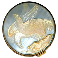 Small Antique Box--Cameo Carved Mother of Pearl Eagles and Brass--Ramis Recisis Altius