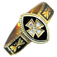 Ring--Late Georgian Mourning Maltese Cross with Diamonds in 18 Karat Gold & Enamel with Hair