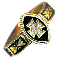 Ring--Late Georgian Mourning Maltese Cross with Diamonds in 18 Karat Gold & Enamel with Hair