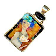 Pendant--Art Cloisonne Enamel by Susan Gifford Knopp of Lady with White Cat in Various Karats of Gold
