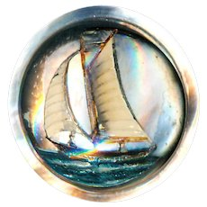 Button--Pearl Under Glass Early 20th C. Reverse Intaglio Sailing Yachtl