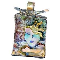 Pendant--Artist Susan Gifford Knopp Fine Cloisonne Enamel on Sterling Silver--Spiritual Excavation