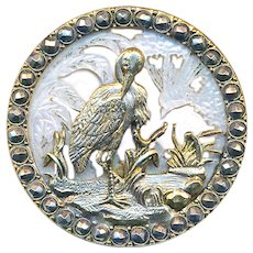 Button--Large 19th C. Cameo Carved Ajoure White Pearl with Brass Heron Overlay & Cut Steels