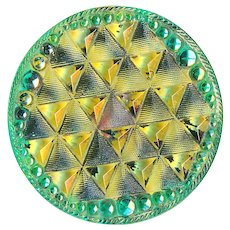 Button--Large Late 19th or Early 20th C. Lacy Glass Diaper Pattern