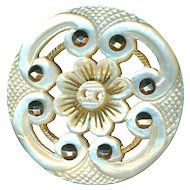 Button--Large Elegant Late 19th C. Ajoure Pierced, Gilded, and Engraved White Pearl with Cut Steels