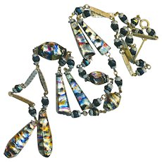 Necklace--Iridescent Foil Art Glass Sautoir