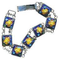 Bracelet--Vintage 800 Silver Hand Crafted Cloisonne Enamel Links