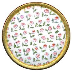 Button--Large Uncommon 19th C. Gilt Rimmed Limoges Chintz Enamel