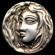 Button--Vintage Hand Sculpted Heavy Sterling Silver Art Deco Style Head with Hair Wings