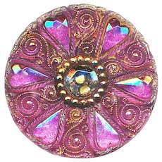 Button--Late 19th or Early 20th C. Lacy Glass Pink Elongated Hearts Medium