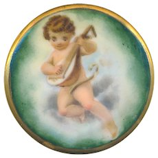 Button---Extra Large Late 19th C. Hand Painted Porcelain Putto with Lute