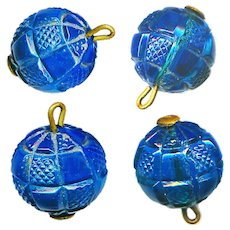 Button--ONE Mid-19th C. Pressed Teal Blue Glass Ball Checkerboard Pin-shank