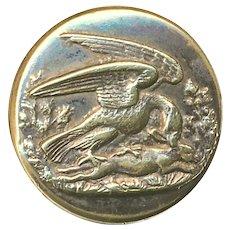 Button---Mid-19th C. Raptor--Hawk & Rabbit Sporting Brass