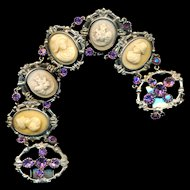 Bracelet--Early 20th C. Silver-plated Real Lava Cameos with Purple Rhinestones