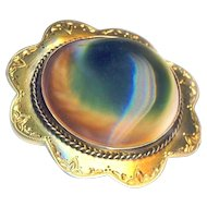 Brooch--Large Mid-Victorian Tested 18 Karat Gold with Bezel-set Colorful Operculum Shell Cat or God Eye Jewel