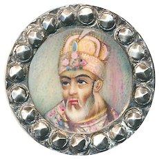 Button--Unusual 19th C. Portrait Under Glass of Indian Mughul Maharaja in 800 Silver--Medium