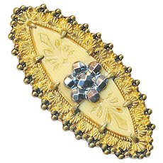 Button--Large 19th C. Ivoroid Celluloid Navette or Boat-shape with Bright Cut Steels