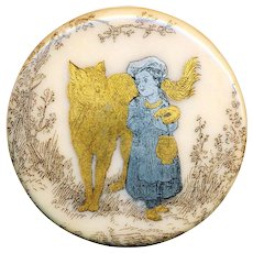 Button--Extra Large 19th C. Transfer Porcelain Little Red Riding Hood & Wolf