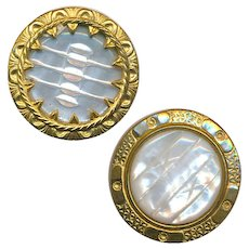 Buttons--2 Late 19th C. Carved Shimmery White Pearls in Fancy Gilded Brass