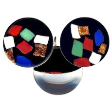 Button ~ ONE Modern Mondrian Black Glass and Color Squares Paperweight--3 Views