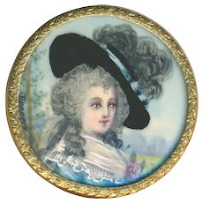 Button--Large 19th C. Hand Painted Portrait of 18th C. Lady Under Glass  in Brass