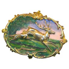 Brooch--Large Repousse Brass and Fired Enamel Scene of Wolf Chasing Stag