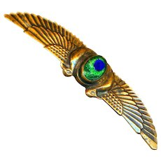 Brooch--Early 20th C. Brass Falcons Wings with Peacock Eye Glass Jewel