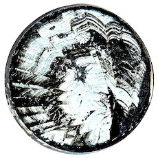 """Button--Uncommon Mid-19th C. Glass Wafer Over Moire """"Crystallized"""" Foil--Medium"""