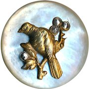 Button--Late 19th C. Thick Creamy White Pearl & Brass Bird with Cut Steels