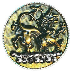 Button--Large Mid-19th Moire Brass Mythical Lion or Fu Dog in Steel Cup