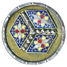 Button--Large Mid-19th Champleve Persian Design Enamel 3-D Box in Steel Cup