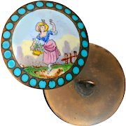 Button--Late 19th C. Emaux Peints Enamel Lady with Flower Basket on Copper