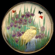 Brooch--Very Large 19th C. Satsuma Pottery Statuesque Solitary Egret in Purple Iris Marsh